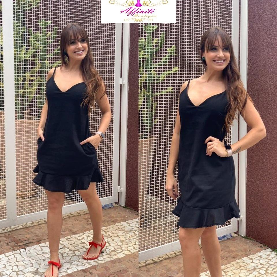bcdb1b017 Vestido Andréia de Alcinha de Linho com Bolso - Várias Cores ...