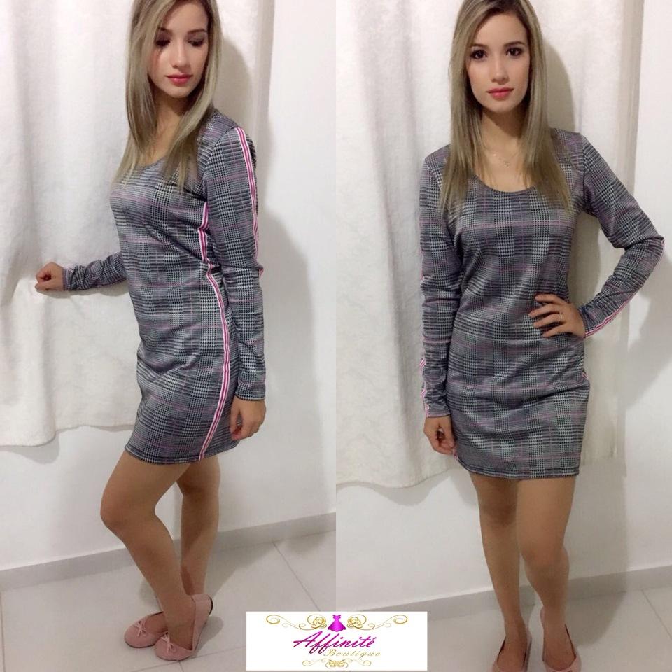 daaac4c93 Vestido Xadrez com Faixa Lateral - Malha Crepe - Affinité Boutique