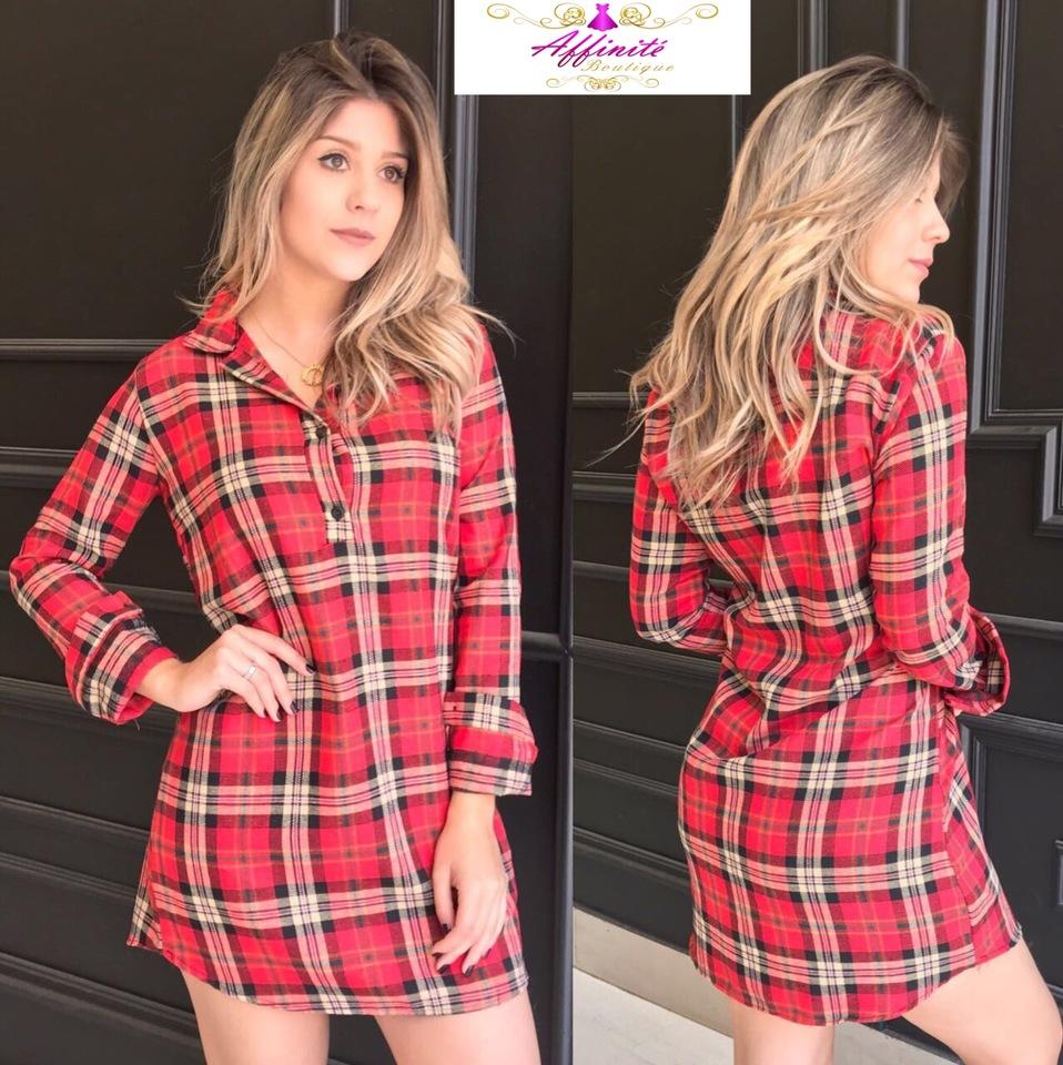 004794777 Vestido Chemise Xadrez de Flanela - Affinité Boutique