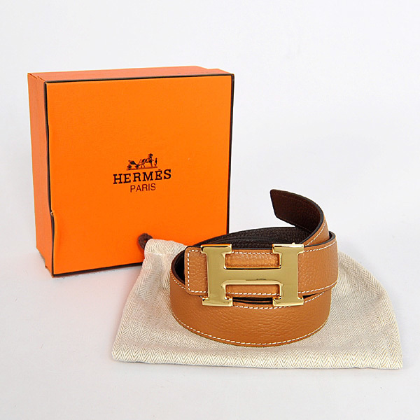 70da0e5cdca Cinto Hermès Caramel Dark Brown Gold - Vitrine Valentina