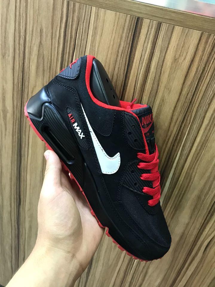 separation shoes 136fc ae7dc Nike Air Max 90 Preto Vermelho Masc Fem