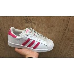 Tenis Adidas Superstar Branco e Rosa Escuro b65058442a50c