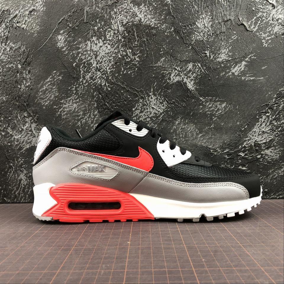 Nike Air Max 90 Essential Wolf Grey Bright Crimson Black