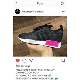 f67bb8f51c Tenis Adidas NMD Feminino Cinza chumbo com rosa