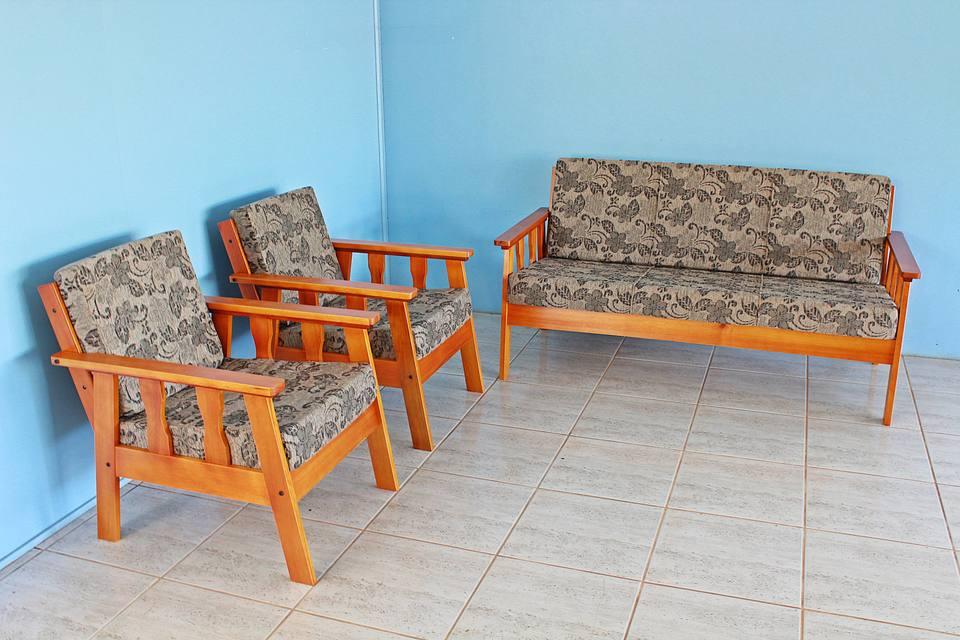 Conjunto De Sofá em madeira 3+1+1 Lugares Mel Com ...