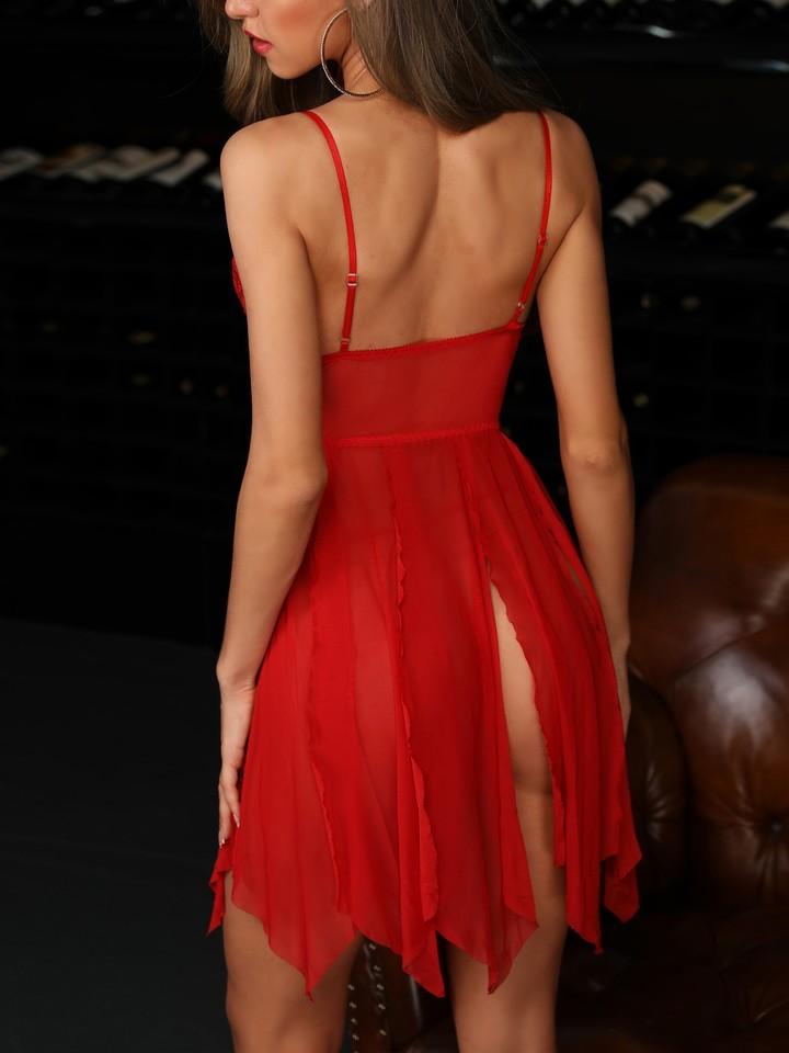 503c08514 Lingerie Camisola Transparente Vermelho - EllaGlamour