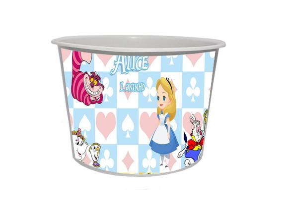 Lembrancinha Alice no País das Maravilhas - Baldinho personalizado 1,5L