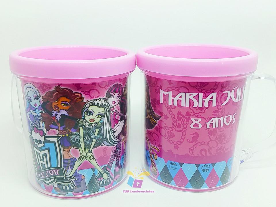 Caneca acrílica Monster High meninas - Lembrancinha