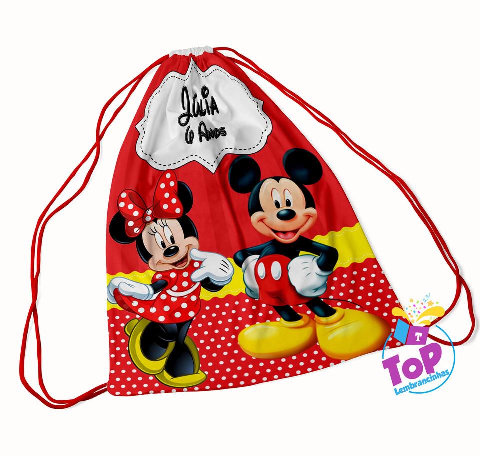 Mochila saco Mickey e Minnie 20x30cm - Modelo1