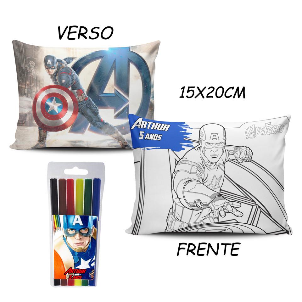 Lembrancinha Capitão América - Almofada Pinte e Lave 15x20cm