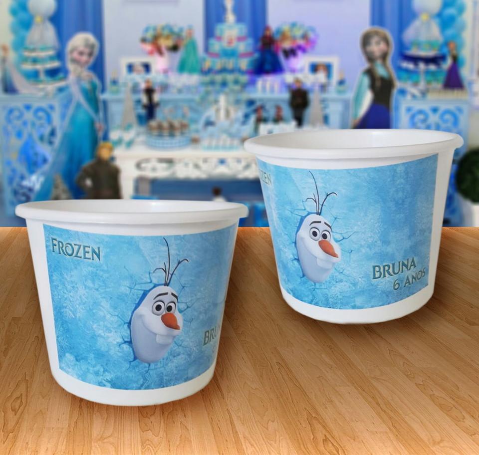 lembrancinha balde de pipoca Olaf Frozen 1,5 litros
