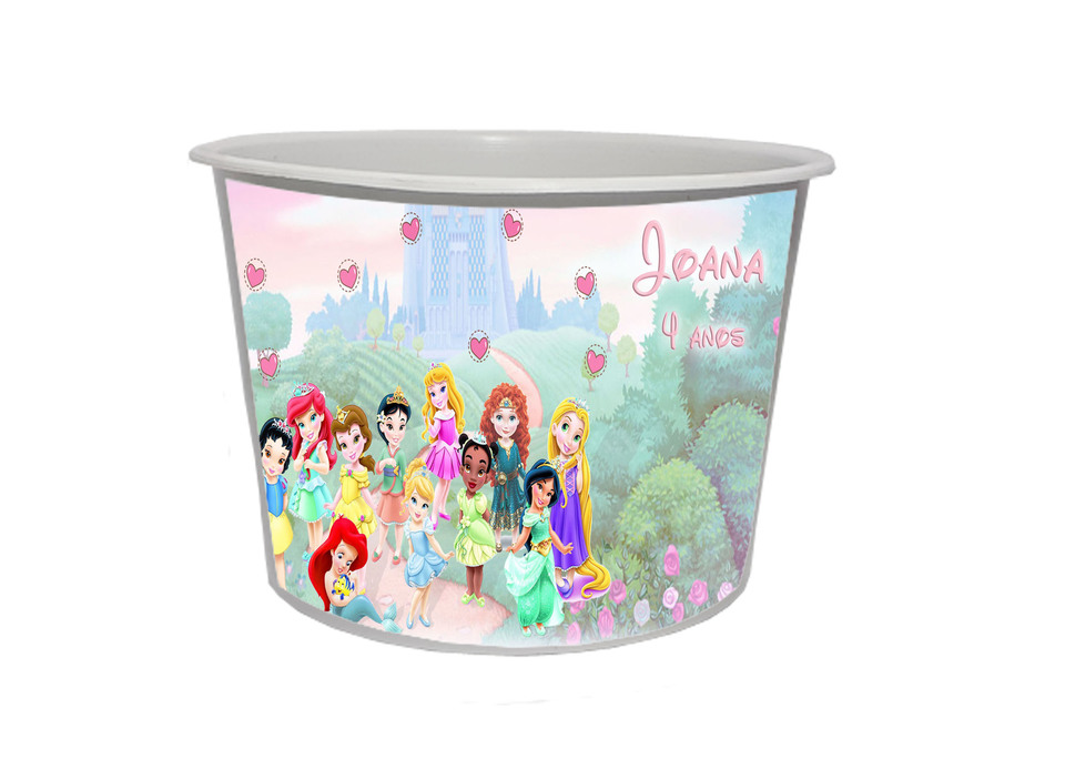 Lembrancinha Princesas Disney - Baldinho personalizado 1,5L
