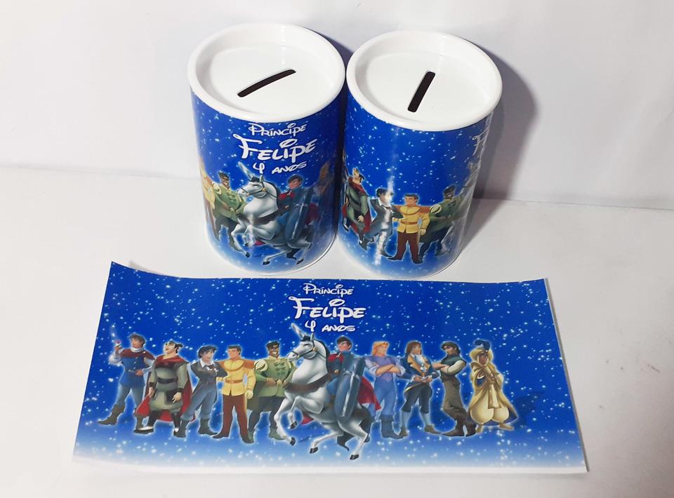 Lembrancinha Príncipes Disney - Cofrinho personalizado 6x11cm
