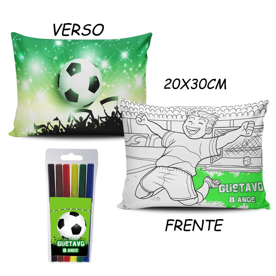 Lembrancinha Futebol - Almofada Pinte e Lave 20x30cm Modelo 3