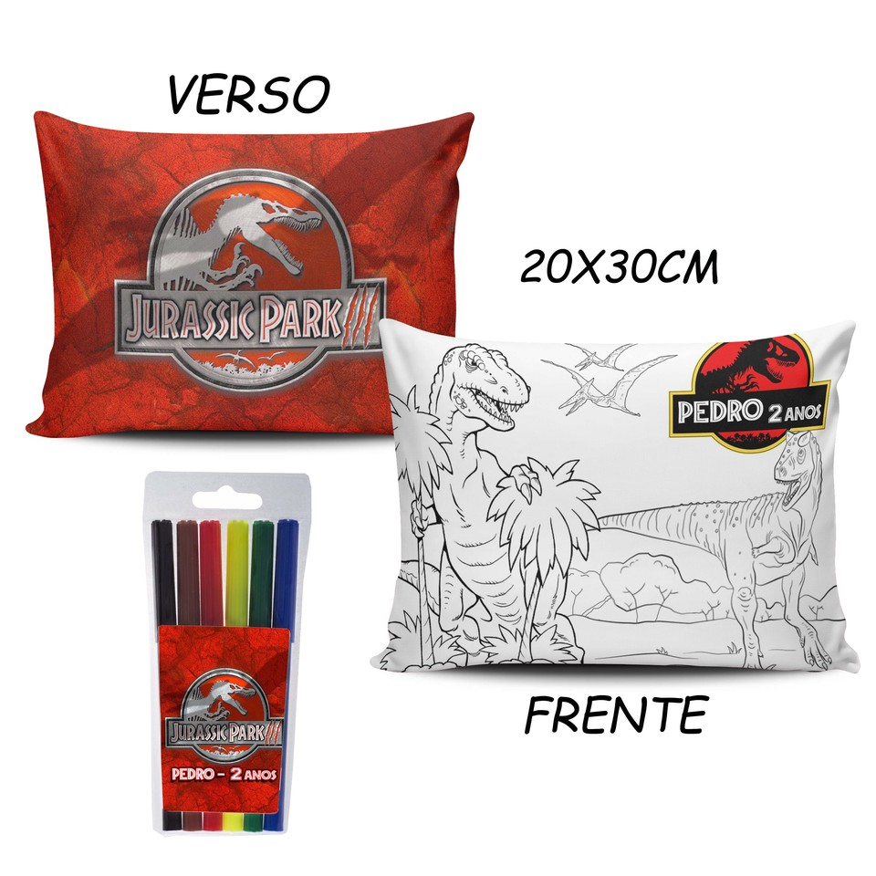 Lembrancinha Jurassic Park - Almofada Pinte e Lave 20x30cm