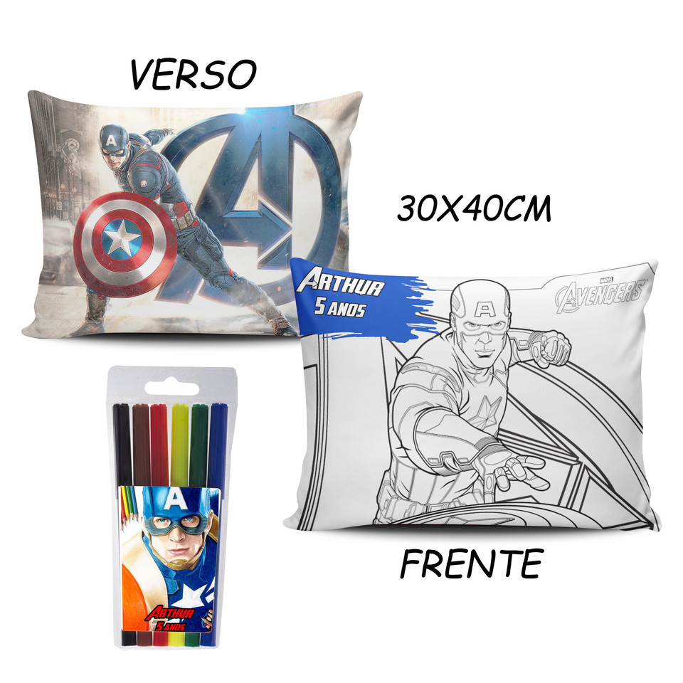 Lembrancinha Capitão América - Almofada Pinte e Lave 30x40cm