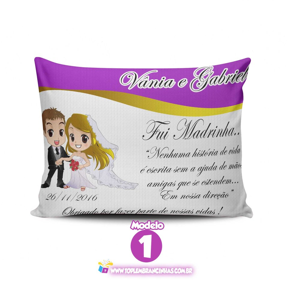 Lembrancinha de casamento - Almofada personalizada 15x20 cm