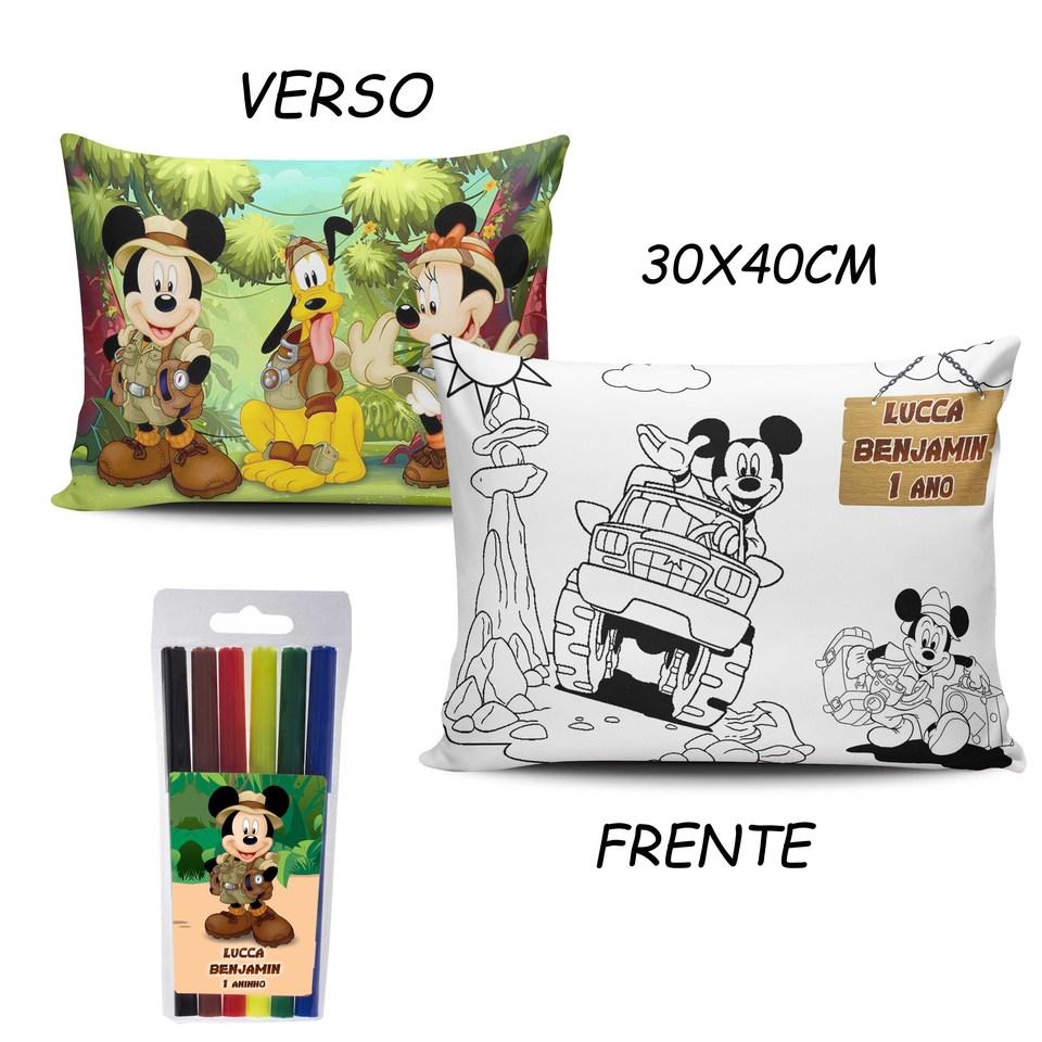 Lembrancinha Mickey Safari - Almofada Pinte e Lave 30x40cm Modelo 3
