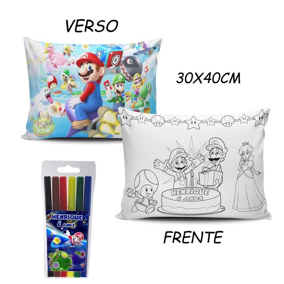 Lembrancinha Super Mario - Almofada Pinte e Lave 30x40cm