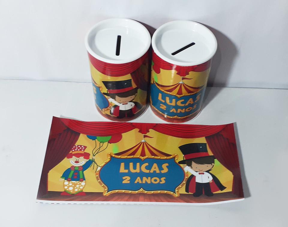 Lembrancinha Circo - Cofrinho personalizado 6x11cm