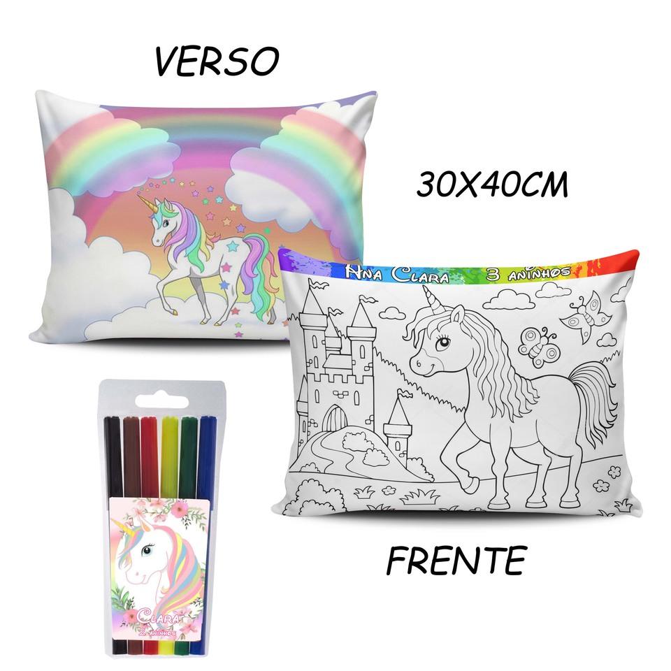 Lembrancinha Unicórnio - Almofada Pinte e Lave 30x40cm