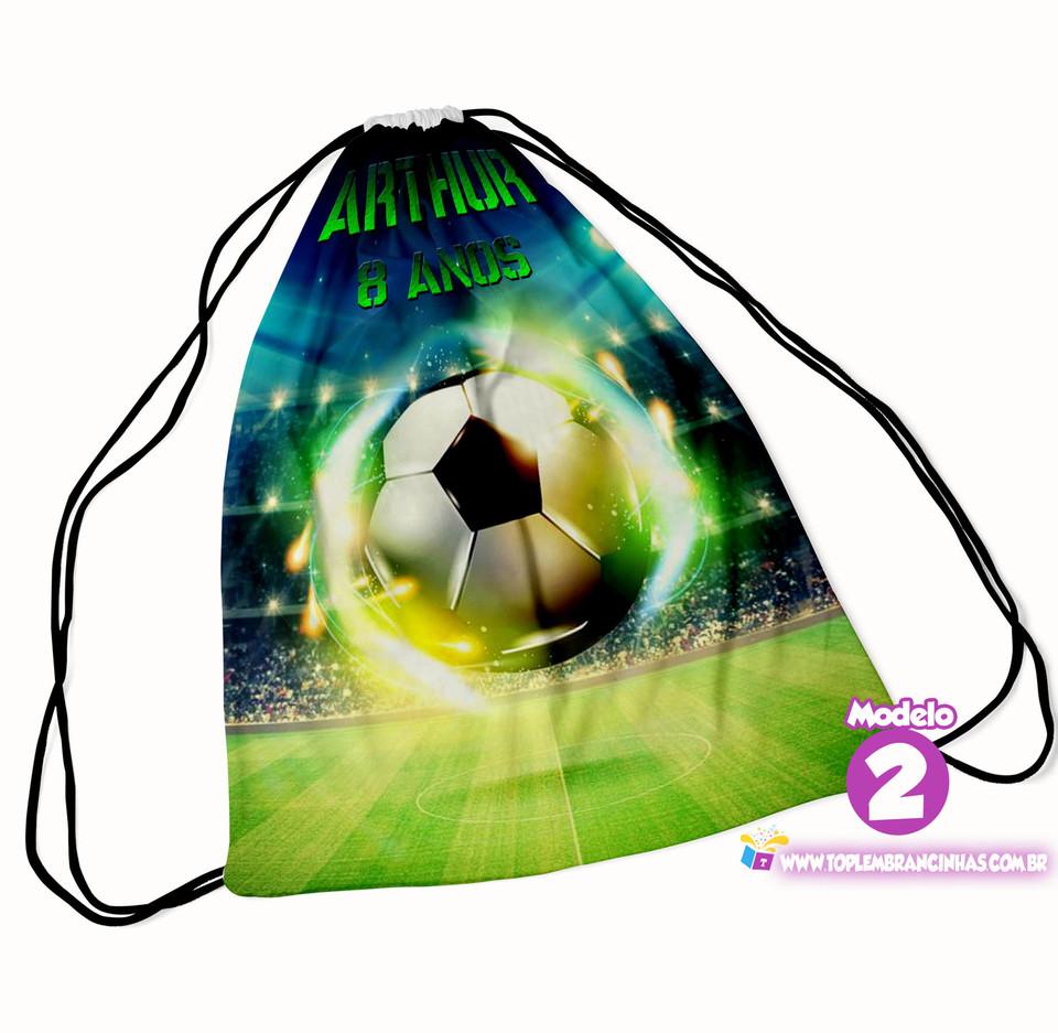 Mochila saco Futebol 20x30 cm - Lembrancinha de aniversário