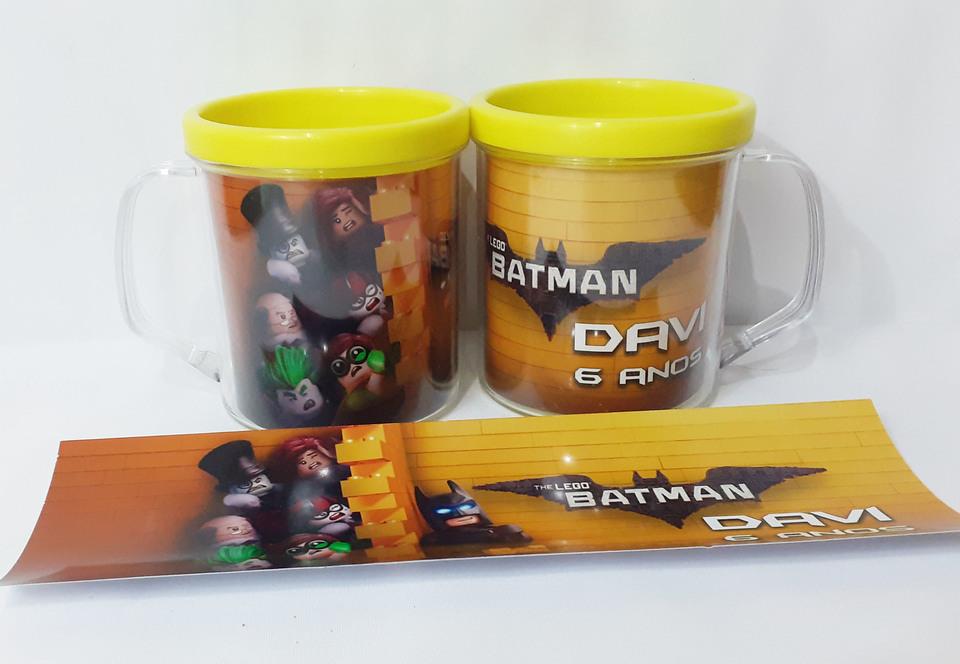Lembrancinha Batman Lego - Caneca de acrílico 380 ml