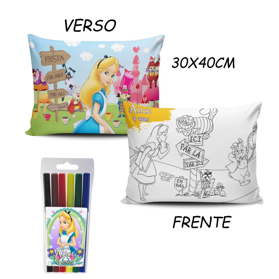 Lembrancinha Alice no país das maravilhas - Almofada Pinte e Lave 30x40cm