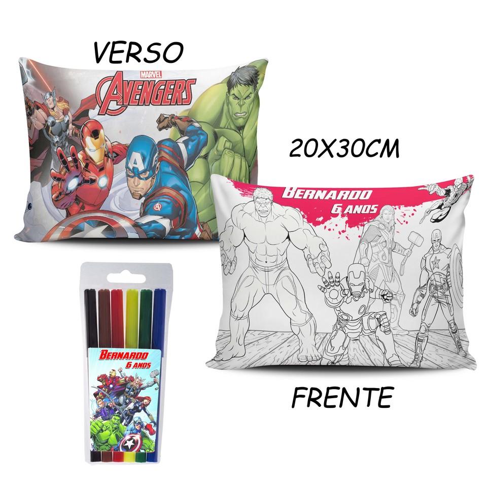 Lembrancinha Vingadores - Almofada Pinte e Lave 20x30cm Modelo 1