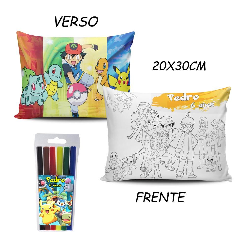 Lembrancinha Pokemon - Almofada Pinte e Lave 20x30cm