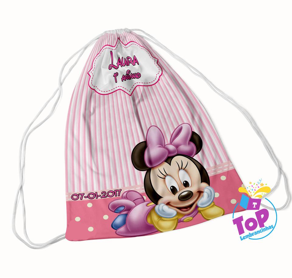 Mochila saco Minnie Baby rosa 20x30cm - Modelo 1