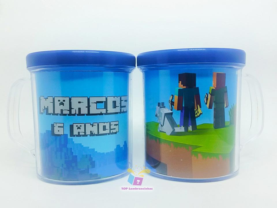 Caneca de acrílico tema Minecraft - Lembrancinha