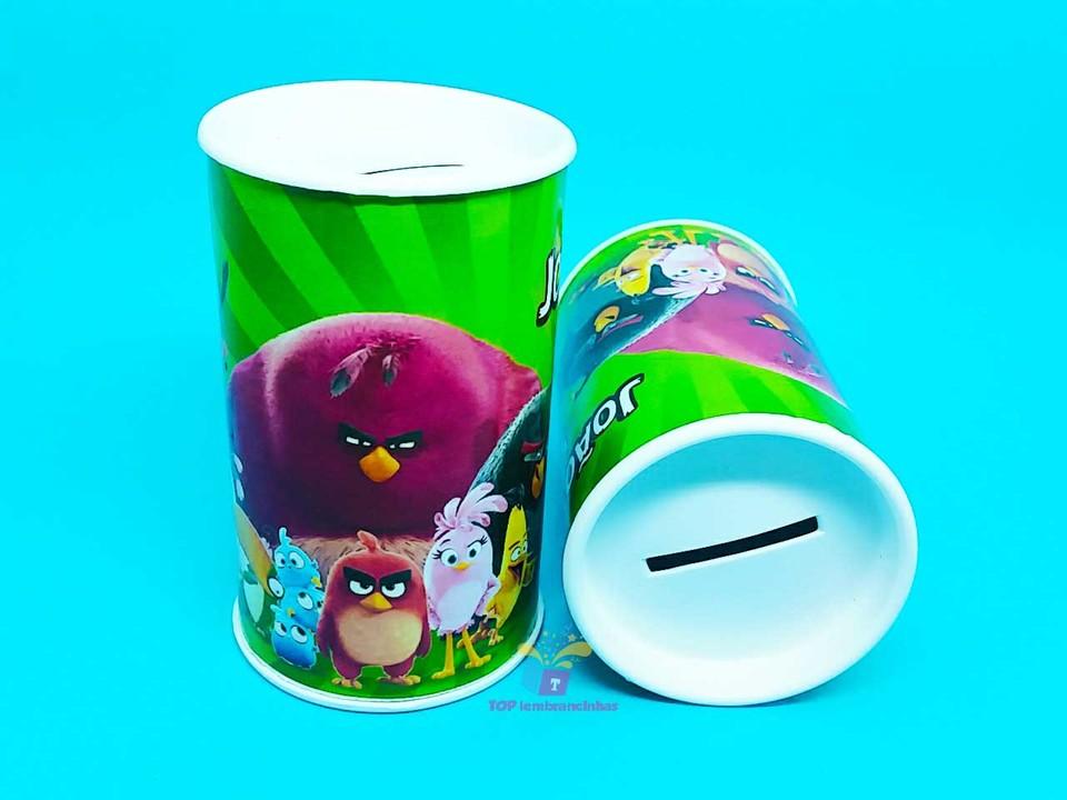 Lembrancinha cofrinho personalizado Angry Birds 11x6 cm
