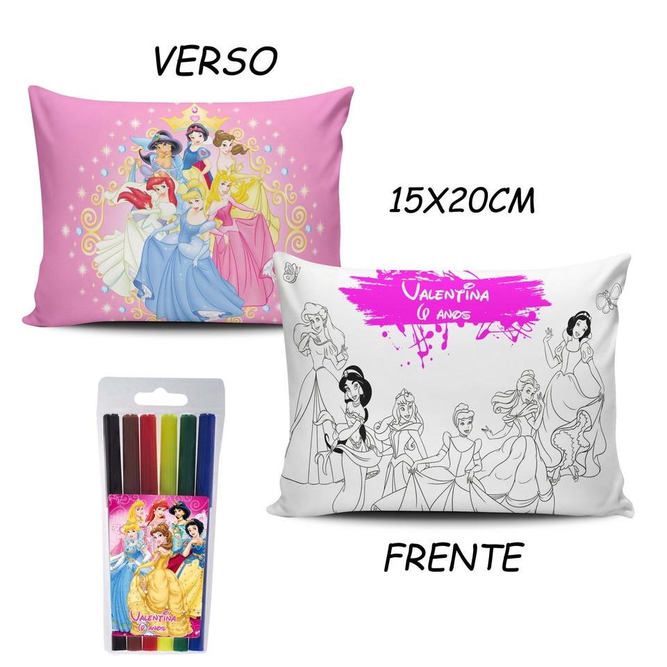 Lembrancinhas Princesas Disney - Almofada Pinte e Lave 15x20cm
