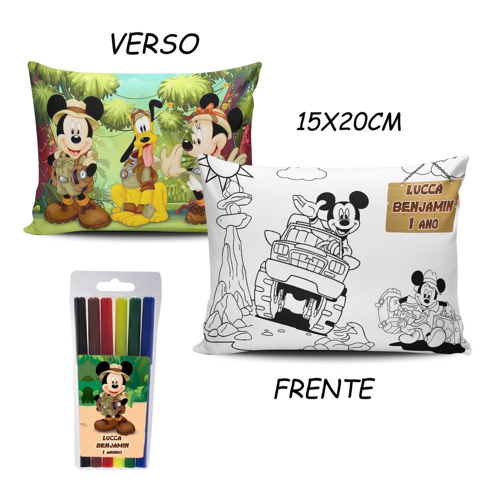 Lembrancinha Mickey Safari - Almofada Pinte e Lave 15x20cm Modelo 3