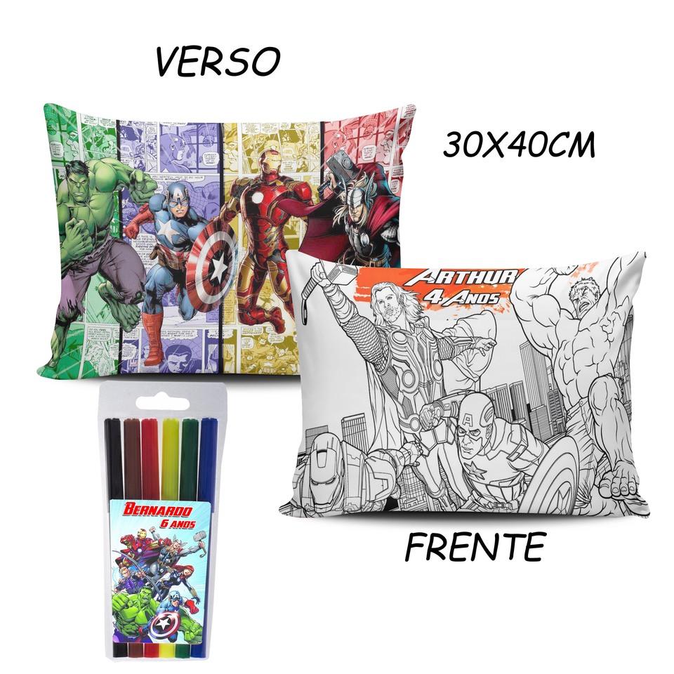 Lembrancinha Vingadores - Almofada Pinte e Lave 30x40cm