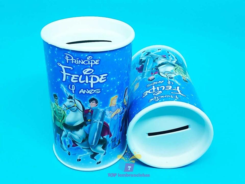 Lembrancinha cofrinho personalizado Príncipes Disney 11x6 cm