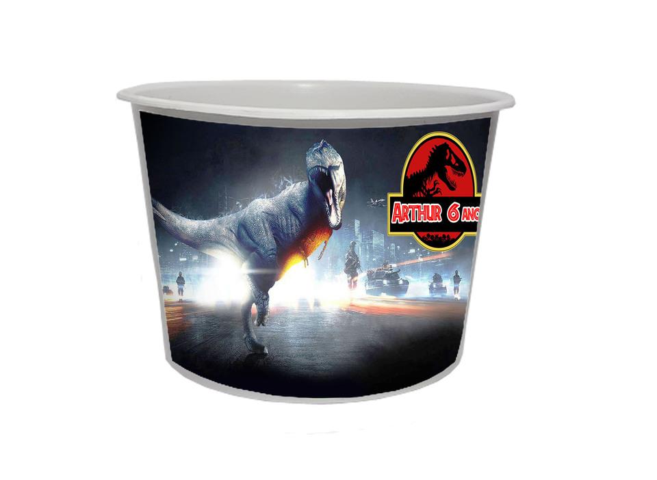 Lembrancinha Dinossauro Jurassic Park - Baldinho personalizado 1,5L