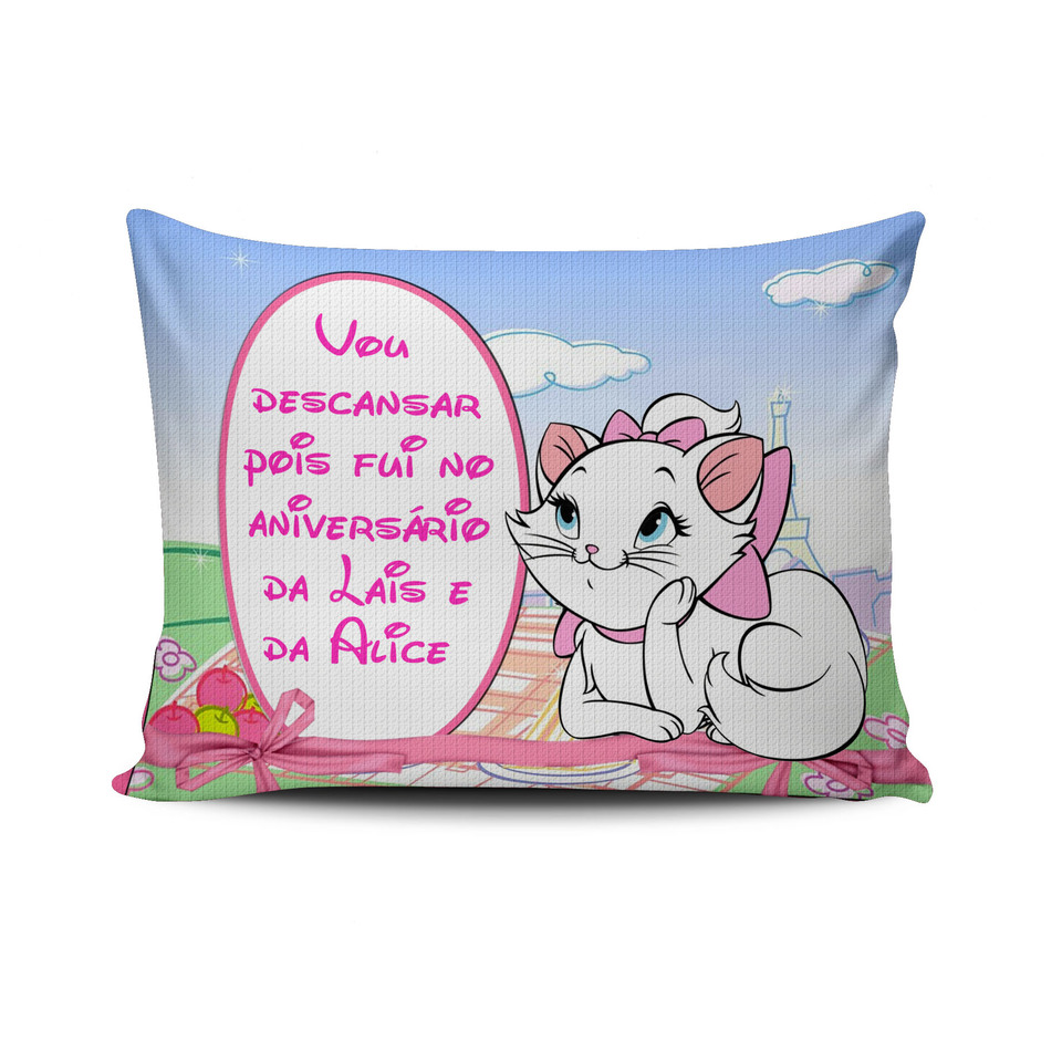Lembrancinha Gata Marie - Almofada personalizada 20x30cm