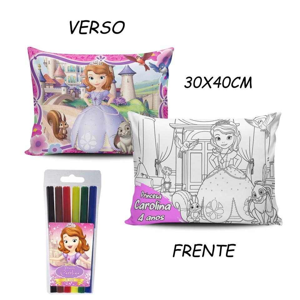 Lembrancinha Princesa Sofia - Almofada Pinte e Lave 30x40cm
