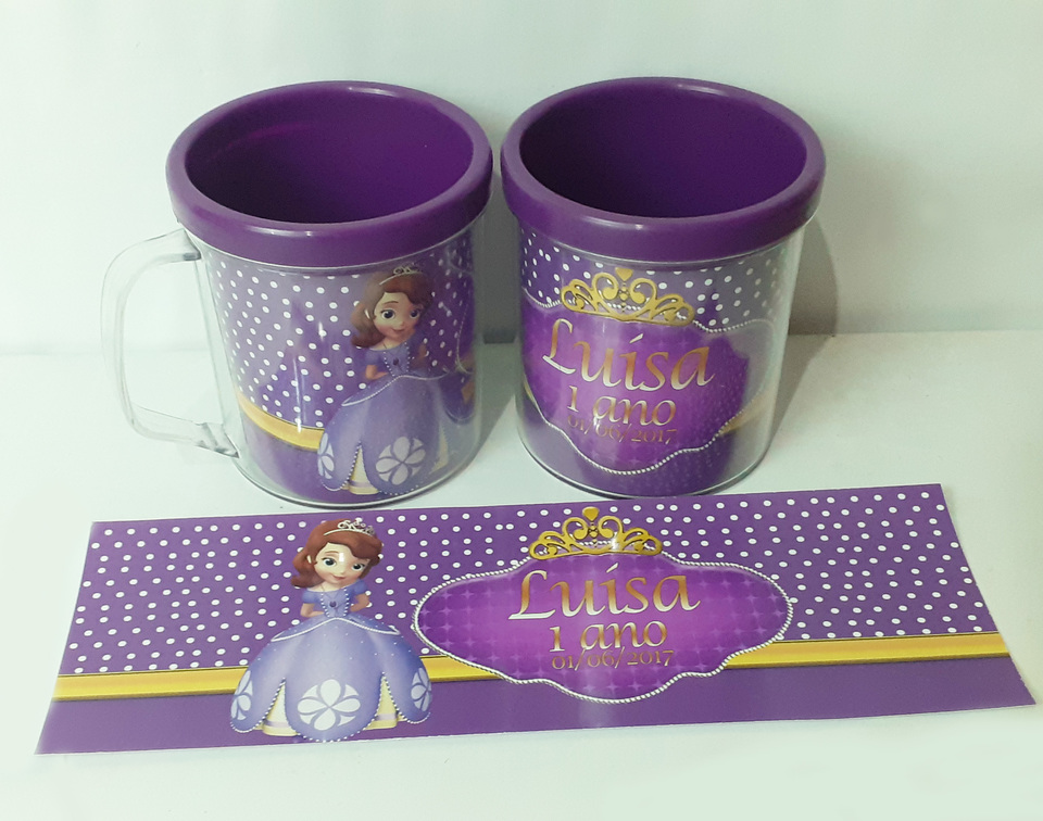 Lembrancinha Princesa Sofia - Caneca de acrílico 380 ml