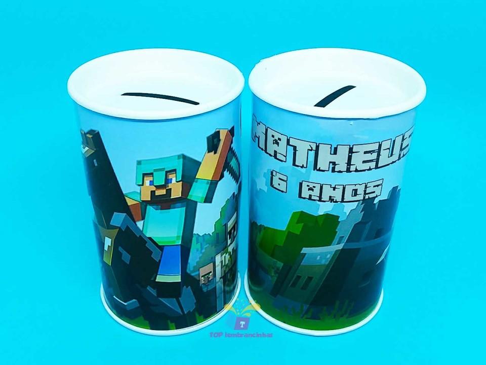 Lembrancinha cofrinho personalizado Minecraft 11x6 cm