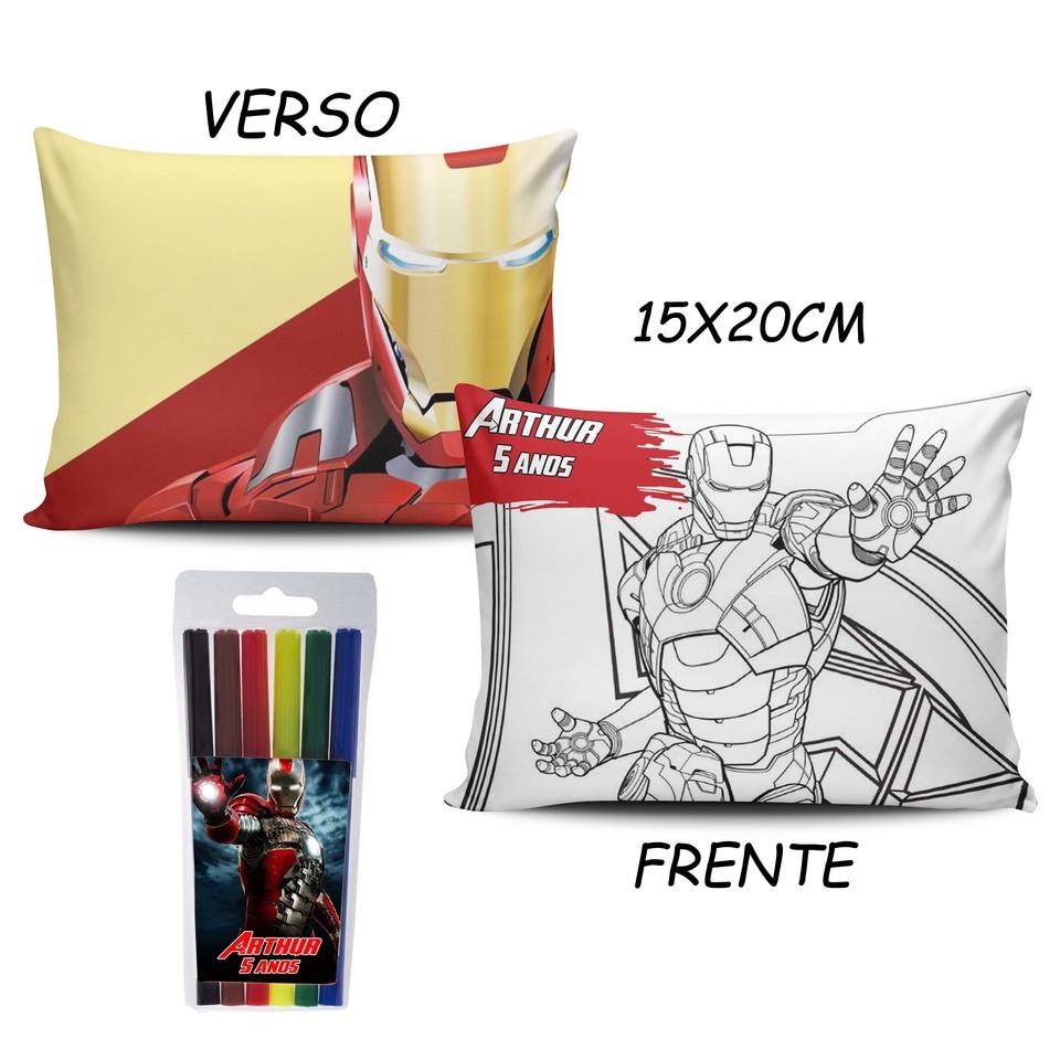 Lembrancinha Homem de Ferro - Almofada Pinte e Lave 15x20cm