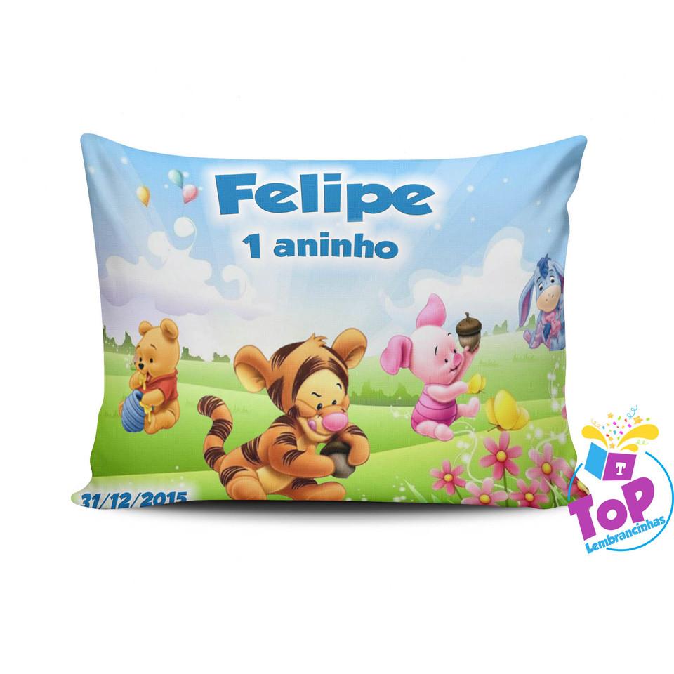 Lembrancinha Ursinho pooh Baby - Almofada personalizada 15x20cm