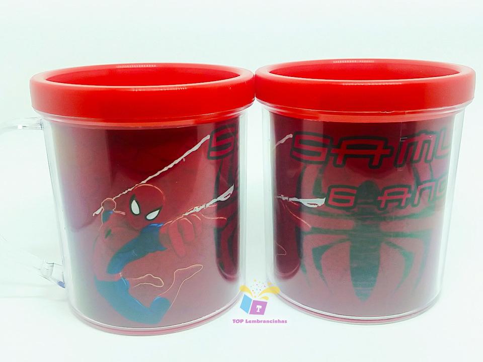 Caneca acrílica do Homem Aranha - Para lembrancinha