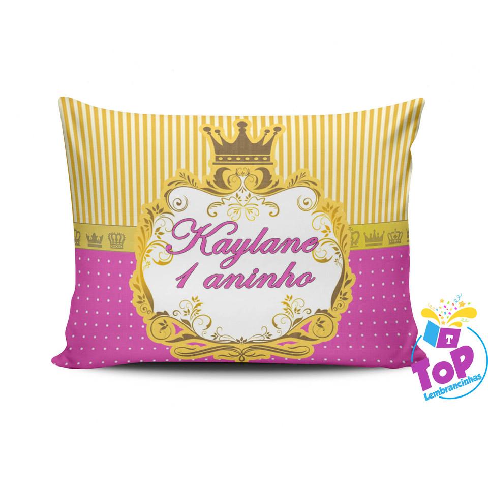 Lembrancinha Coroa Princesa - Almofada personalizada 15x20cm - Modelo 2