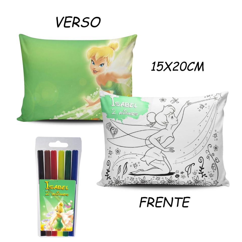 Lembrancinha Sininho Tinker Bell - Almofada Pinte e Lave 15x20cm