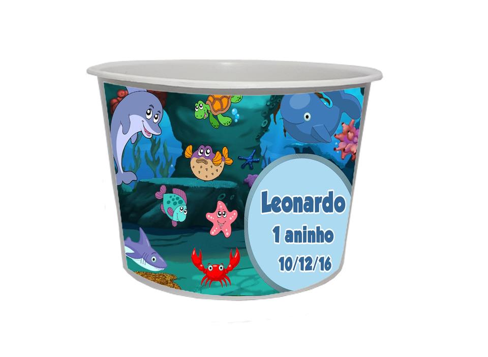 Lembrancinha Fundo do Mar - Baldinho personalizado 1,5L