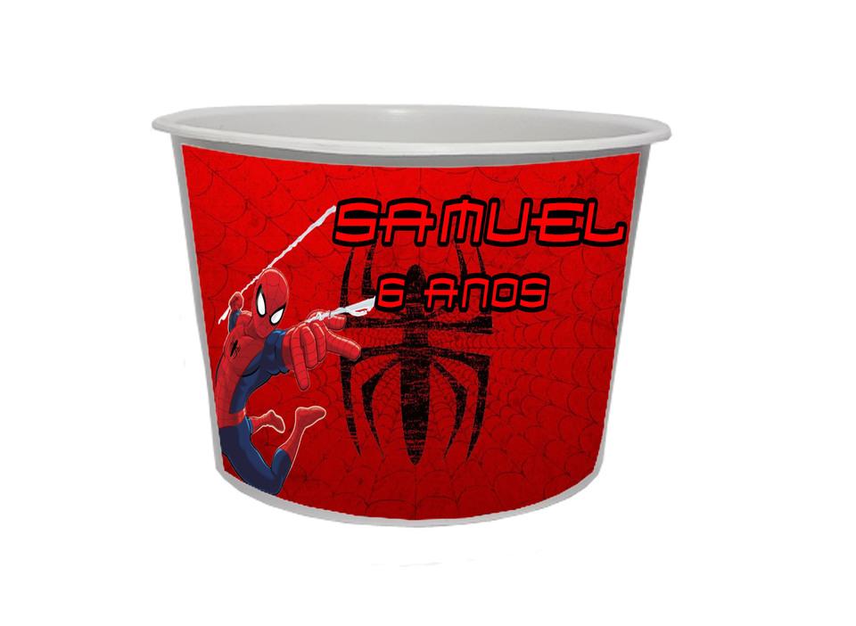 Lembrancinha Homem Aranha - Baldinho personalizado 1,5L