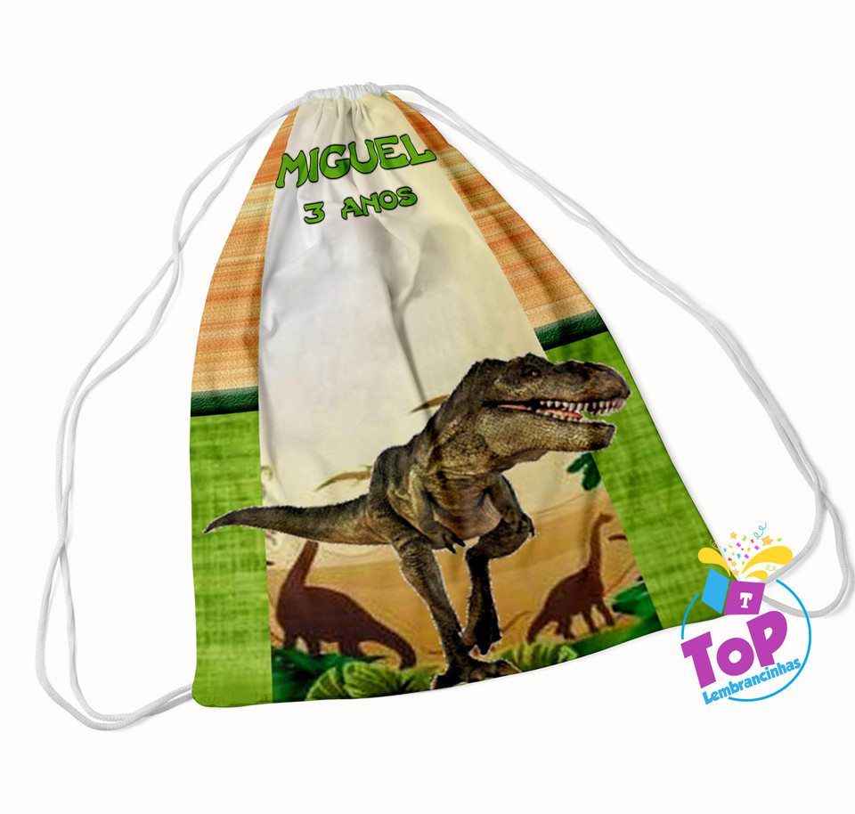 Mochila saco Dinossauro 20x30cm - Modelo 1